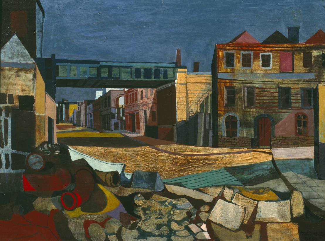 Street and Railway Bridge 1946 by John Minton 1917-1957