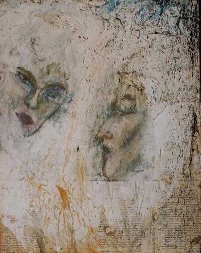 Begegnungen, 2000,Mischtechnik auf Leinwand,80 x 105 cm