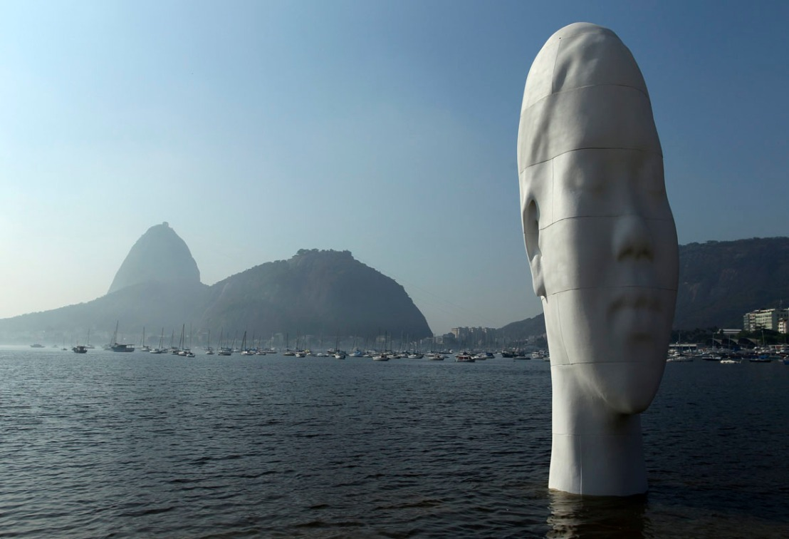 A sculpture named 'Awilda' is pictured at the shore of the Botafogo beach in Rio de Janeiro