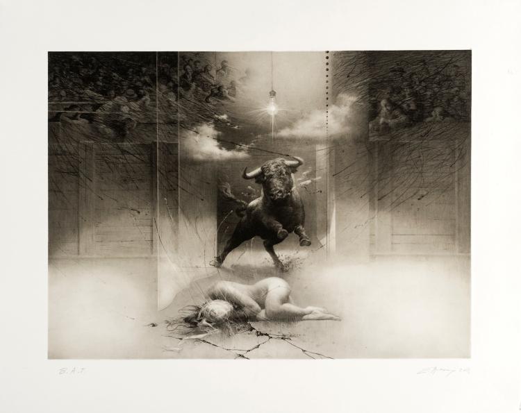 Tauromaquia - Salida del toro. 2008 Grabado en plancha de polímero. 54 x 68 cm