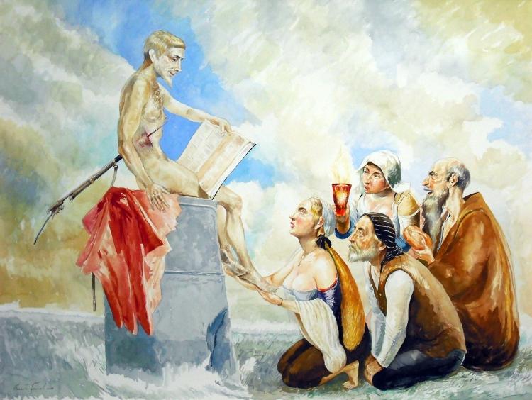 Homenaje a Mariano Fortuny. Isaias el Predicador de la U.M.A.P. Acuarela, 91x117cm. 2018 (2)